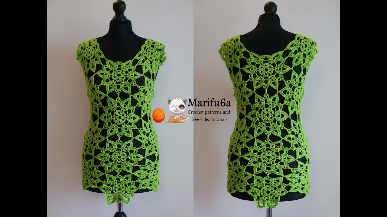 How to crochet lime top tunic with motifs free tutorial ...
