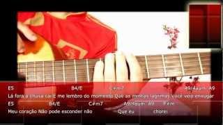 Sonho Khorus - Aula de violão Completa, cifras na tela.