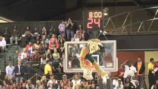 NBA mascot hits halfcourt shot off another mascot