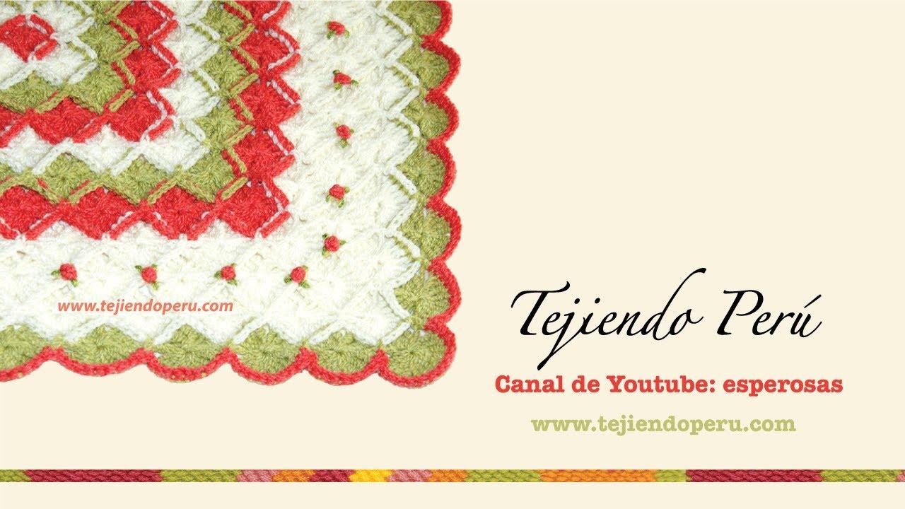 Cobija o mantita para bebés tejida en bavarian crochet con rosas ...
