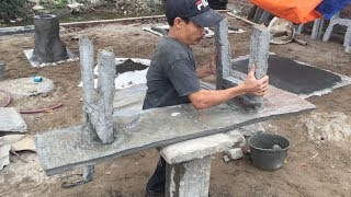 Craft Ideas Make Chair Concrete At Home // Amazing Furniture Made Of Cement, Wooden Imitation Chair