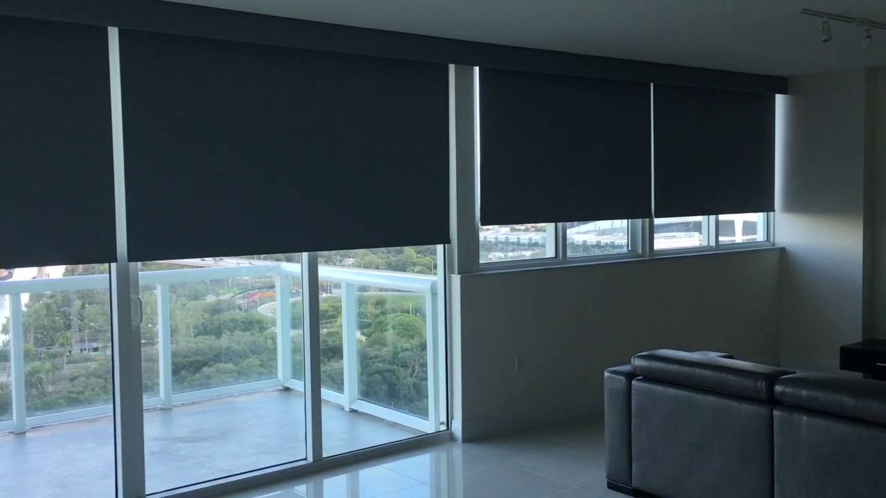 Somfy motorized blackout roller shades youtube for Motorized blinds not working
