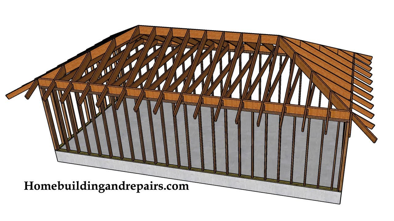 Example of hip roof with ceiling joist construction for Roof framing cost