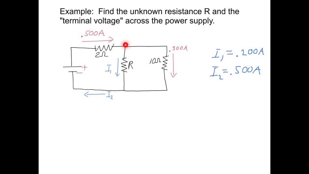 DC circuit analysis (simple example using loop and junction rules)