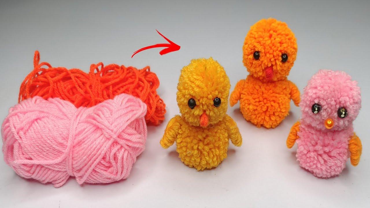 Super Easy Pom Pom Chicken Making idea With Fingers | Diy Pom Pom chick | How to make yarn chick