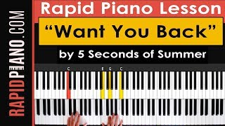 "🎹 How To Play ""Want You Back"" by 5 Seconds of Summer - Piano Tutorial & Lesson - (Part 1)"