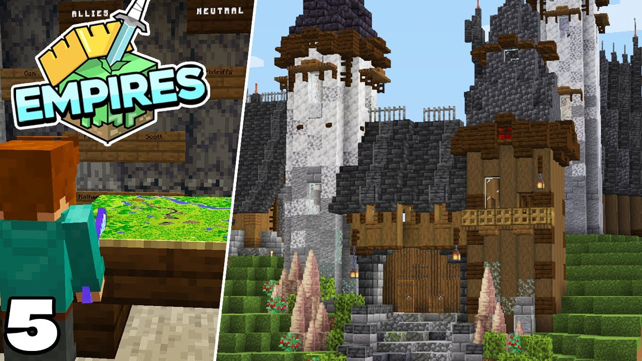 Empires SMP : Building the Village Gate House! Minecraft 1.17 Survival Let's Play