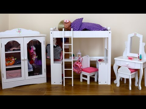 Dolls Double Bunk Bed Desk Closet & Dressing Table Unboxing- Baby Born Bedroom After school Routine