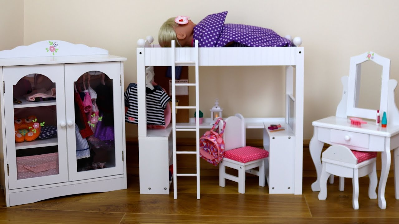 Dolls Double Bunk Bed Desk Closet Dressing Table