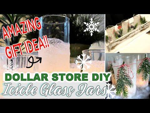 DOLLAR STORE DIY | ICICLE GLASS JARS | DOLLAR TREE GIFT IDEA & DIY | CHRISTMAS DIY+CRAFT