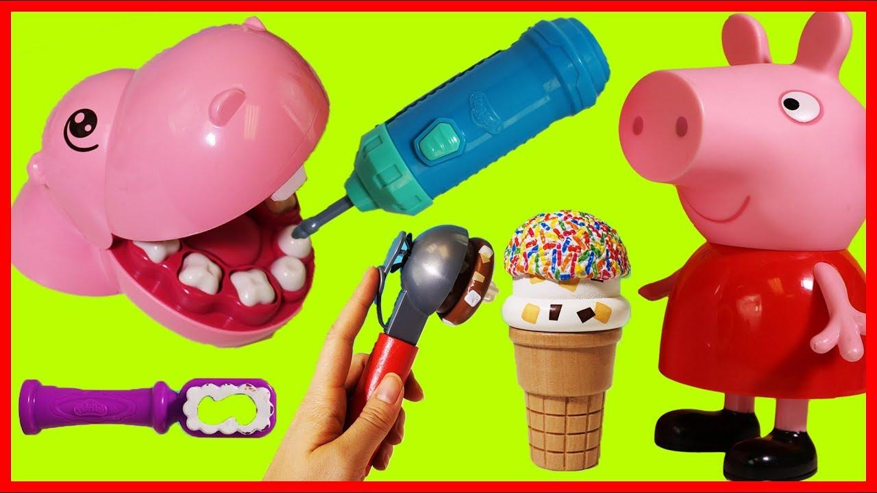 佩佩豬小豬佩奇與河馬先生吃冰淇淋甜點的玩具故事 - YouTube