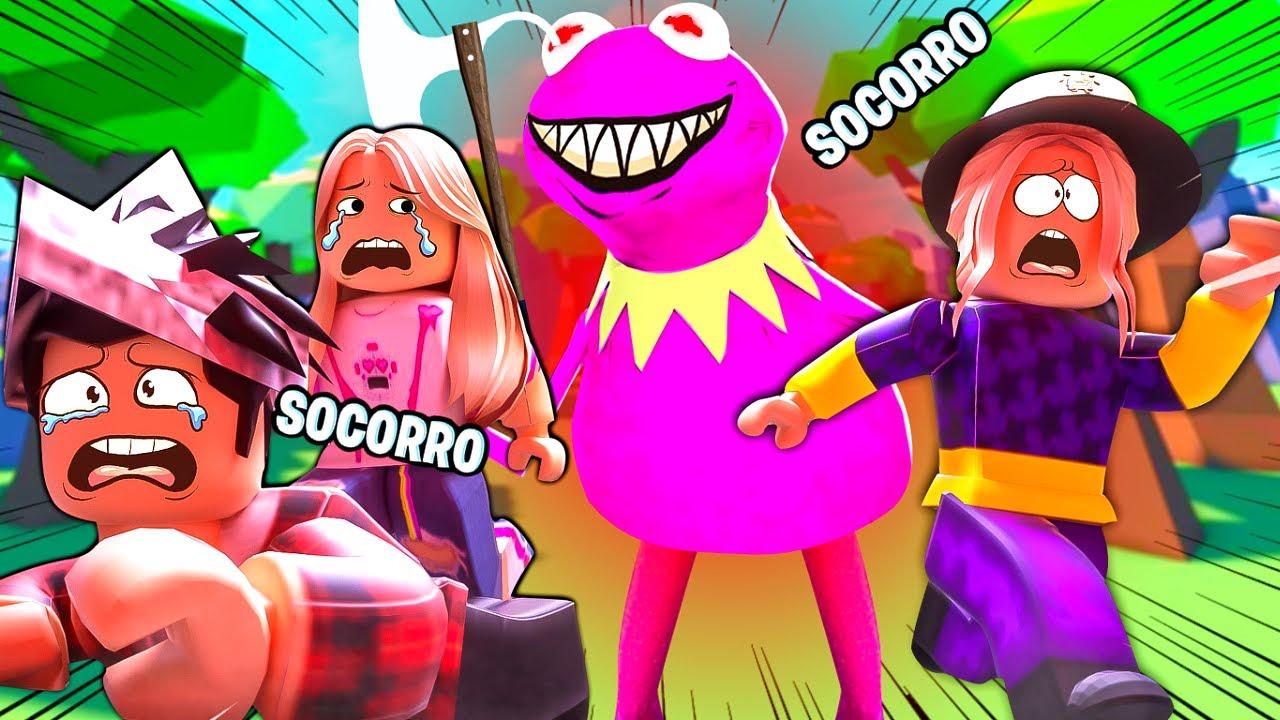 FUJA DO SAPO ROSA DO MAL !!! - (Frogge Roblox)