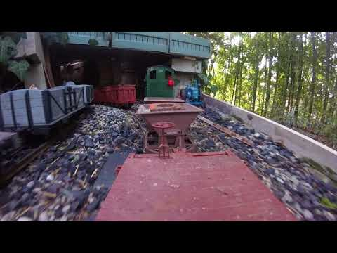 Mining convoy pulled by diesel Bulldog and GoPro on board