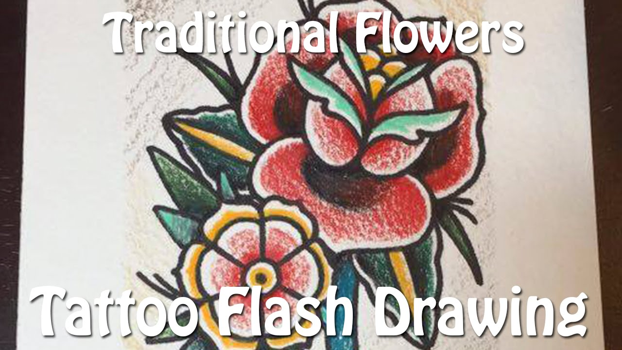 Traditional Rose Tattoo Flash Drawing Youtube