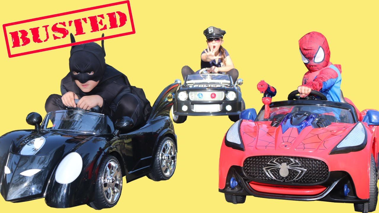 Download Batman Spiderman BUSTED Racing Power Wheels Ride On Cars At the Park Superhero Playtime Fun Ckn Toys