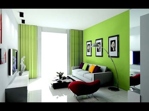 Id es d coration de salon en gris et vert youtube for Idee deco salon 15m2