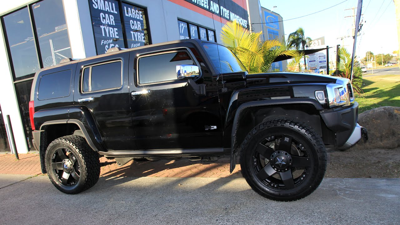 Hummer h3 custom rims 20 inch kmc rockstar black wheels youtube vanachro Image collections