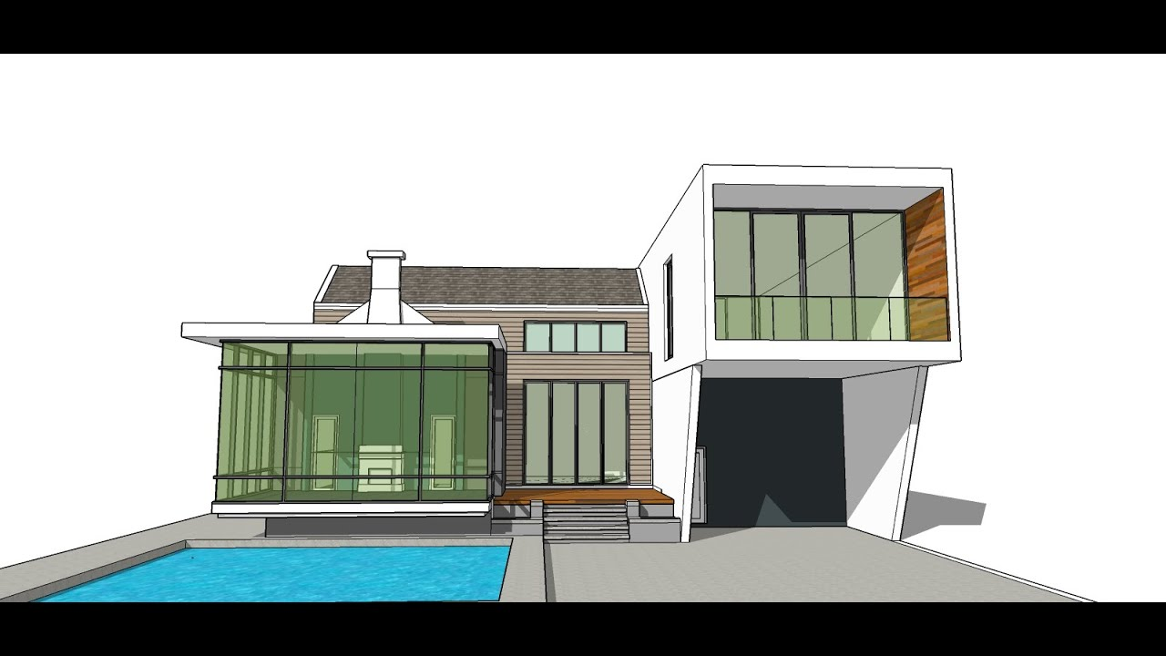 Sketchup pro create modern house model tutorial