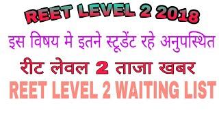 Reet level 2 latest news today// कहा पर कितने एब्सेंट रहे हिंदी में//reet level 2 hindi wating list