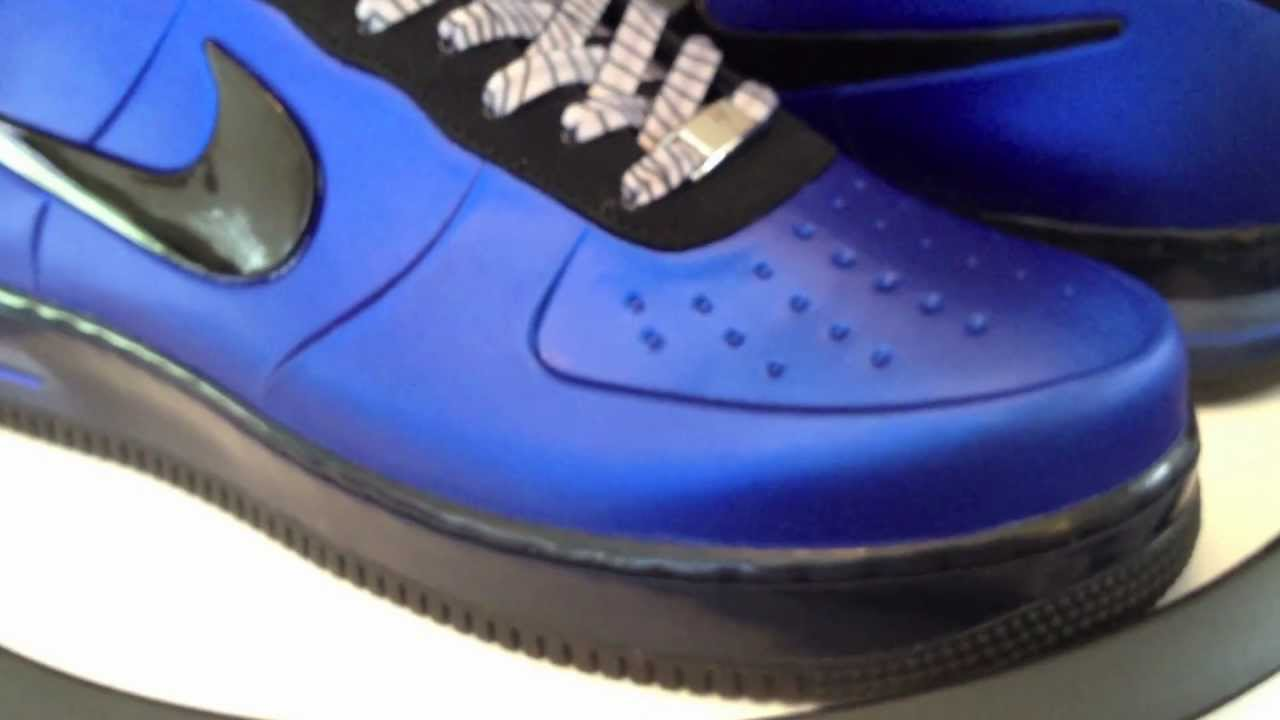 4bfc2419e28  Nike Air Force 1 Foamposite Pro Low - with Grey lace swap - Game Royal    Black colorway 3-14-12 - YouTube