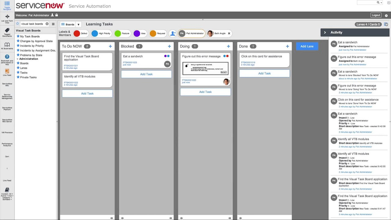 Servicenow Visual Task Boards Demo Youtube