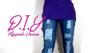 DIY ripped skinny jeans w/ a box cutter | Nik Scott