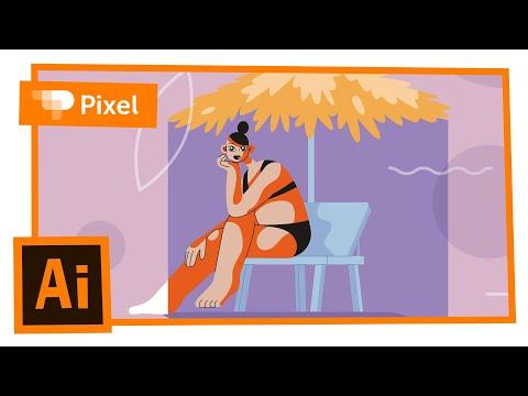 Рисуем девушку на пляже в Adobe Illustrator | уроки для новичков