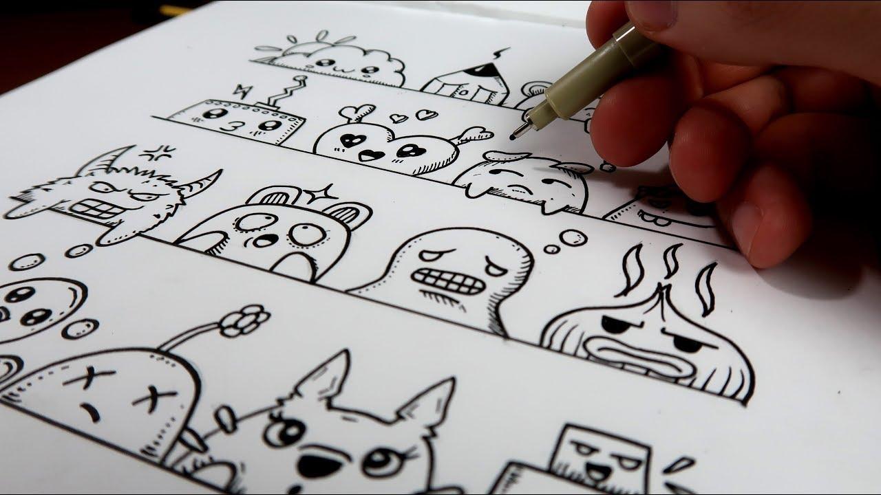 16 Visages Et Expressions Doodle Art