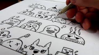 16 visages et expressions : Doodle Art