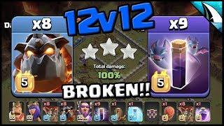 *BROKEN* 8 Lava Hounds + 9 Bat Spells!! 12v12 Triples | Clash of Clans