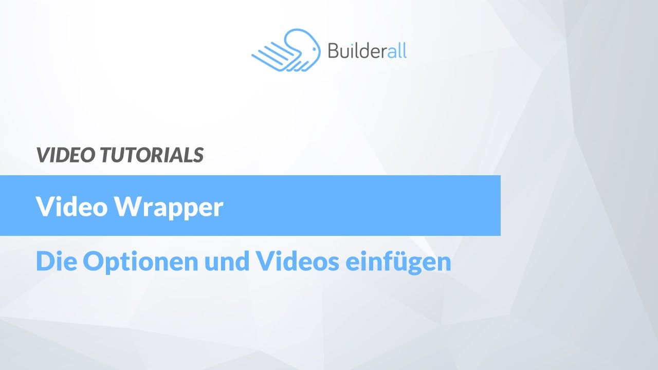 Video Wrapper - Optionen und Video einfügen