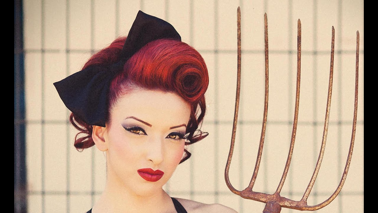 50s pin up hairstyles : Pin-Up Updo Swirl Hair Tutorial - YouTube