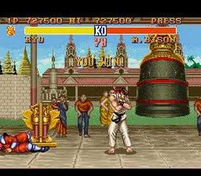 Ryu vs. M. Bison - Street Fighter II - SNES