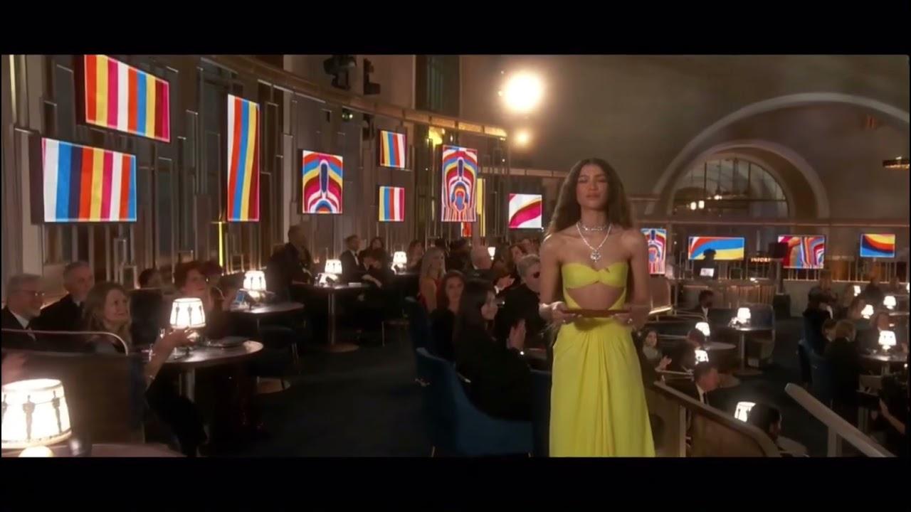 Zendaya presents at the Oscars for Original Score 2021