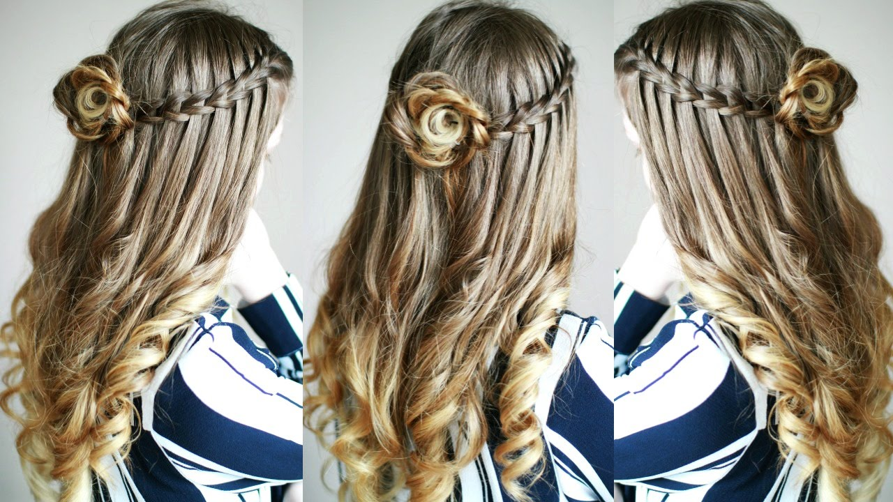 Half Up Down Flower Braid And Waterfall Combo Braidsandstyles12 You