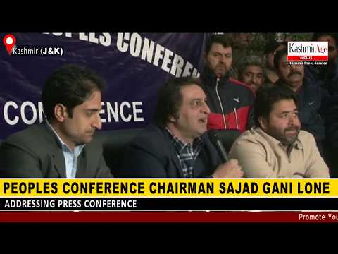 Peoples Conference chairman Sajad Gani Lone addressing Press Conference