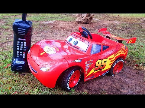 Funny Baby Red Car stuck in the mud Ride On POWEL WHEEL Car Щенячий Патруль