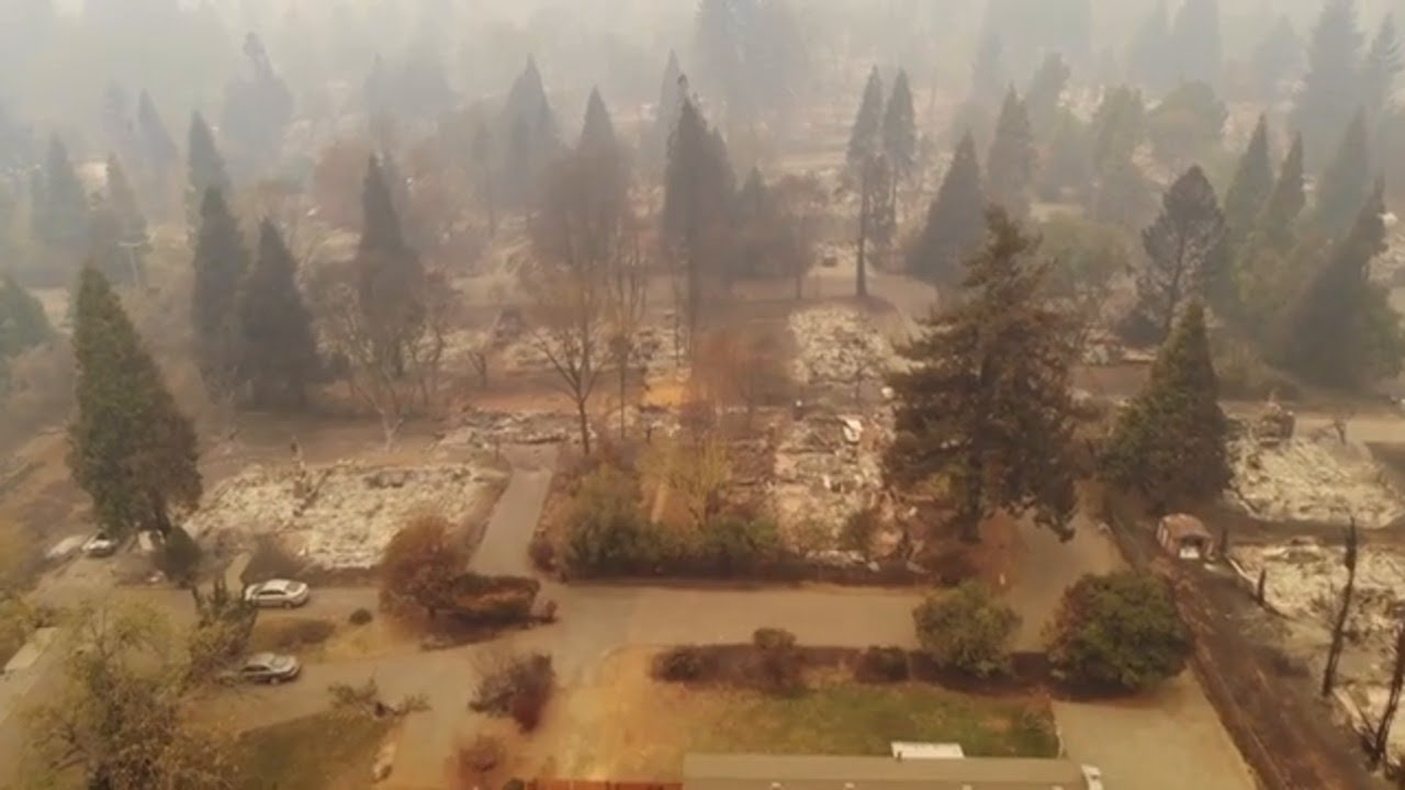 نتيجة بحث الصور عن ‪Drone flyover shows Camp Fire destruction in Paradise‬‏
