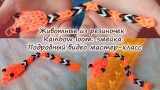 Животные из резиночек Rainbow loom: змейка. Подробный видео мастер-класс