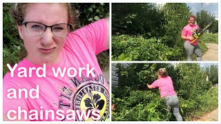Crazy Woman's First time using a Chainsaw!