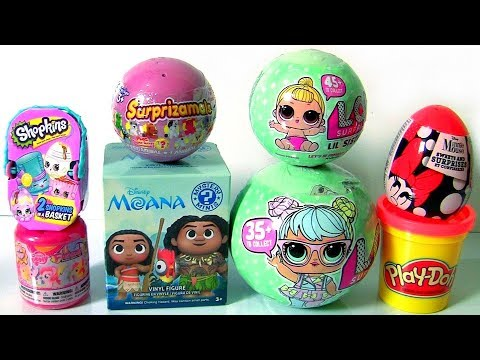 Huge Shimmer and Shine Genie Bottle Surprise LOL Dolls LIL SISTERS Series 2 Play-Doh Moana Toys
