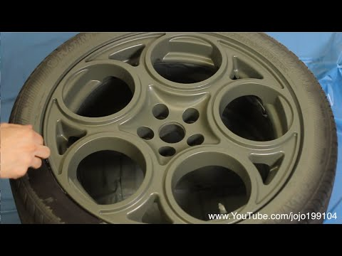 Camo Green Plastidip on Alfa Romeo 147 GTA Wheels