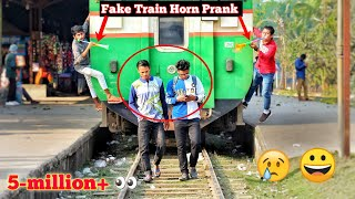 Best of the fake Train horn prank | ( Part 3 )  Try to not laugh challenge - Horn prank in public!