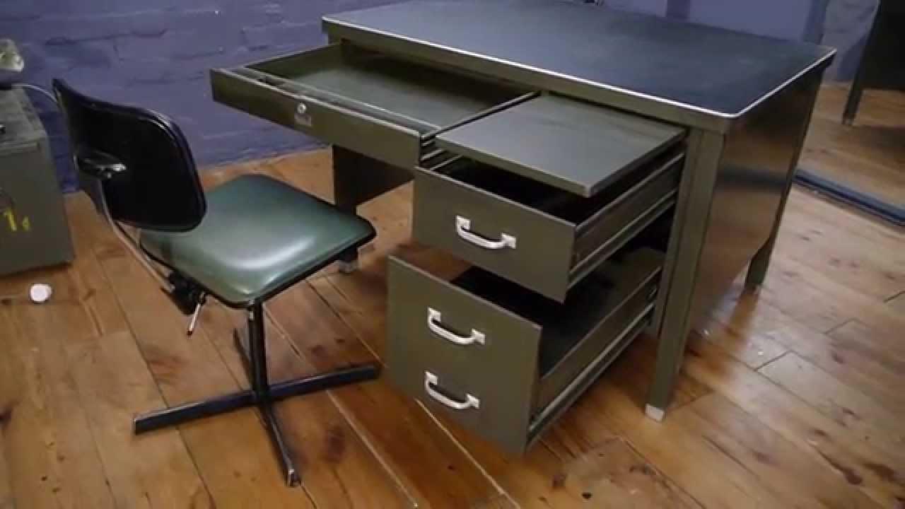 Military Vintage Industrial Metal Desk By General