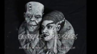 how to paint frankenstein and bride black and white