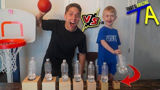 Challenging WATER BOTTLE FLIP GENIUS! Ft. That's Amazing