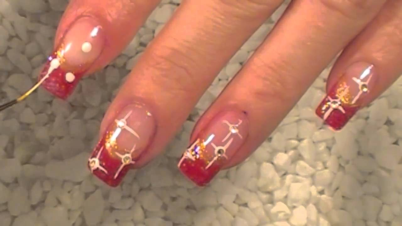 Christmas Nail Art Design Stars Sterne Strass Tutorial Rot