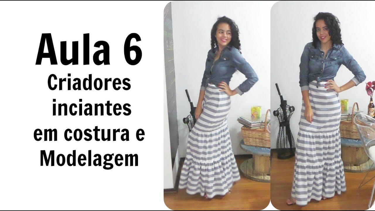 7d66d85e9d Aula6 CIS Saia longa de listras Alana Santos Blogger - YouTube