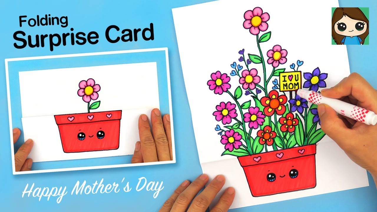 how to draw a mother's day flower pot folding surprise card 💐❤️