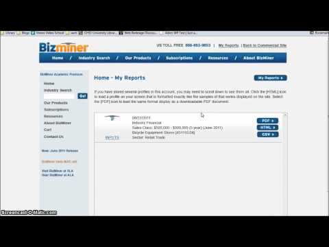 How to find industry financial ratios with Bizminer